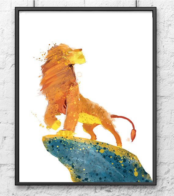 Hey, I found this really awesome Etsy listing at https://www.etsy.com/listing/232374377/the-lion-king-watercolor-lion-king-art