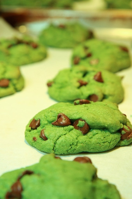 Everything tastes better when it's green! Dyed chocolate chip cookies.