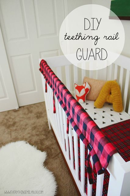 "DIY Teething Crib Rail Guard... Our crib is a beautiful  hand-me-down from my sister and it already has some ""beaver"" bites, so this would be a great way to cover those up and protect it in the future."