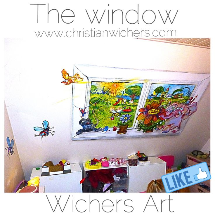 The Window in the childrens room. If you dont have a window, why dont you paint one?  Art by Christian Wichers  www.christianwichers.com #wichers_art #art #painting