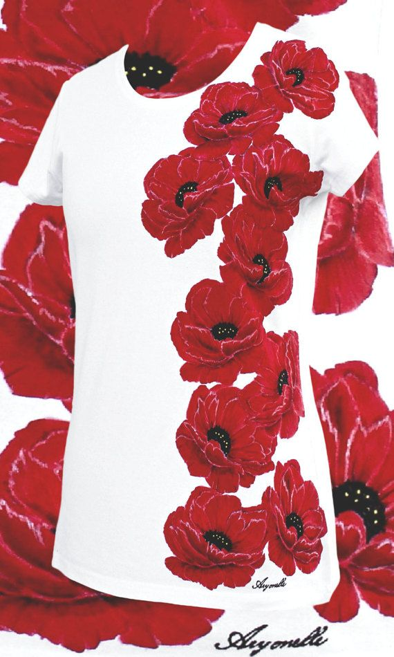 Hand painted T-shirt-Poppyflowerredwhitehand made t by Aryonelle