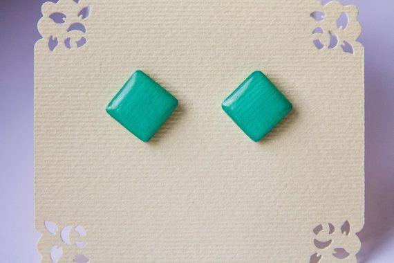 Mint studs glossy mint earrings earrings for men от JewelryBest