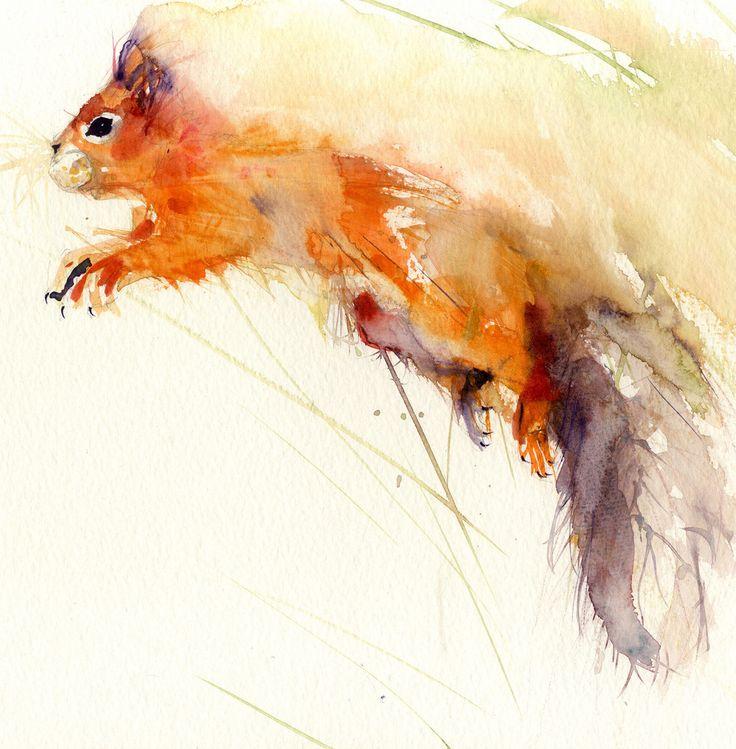 Original watercolour painting 'red squirrel'