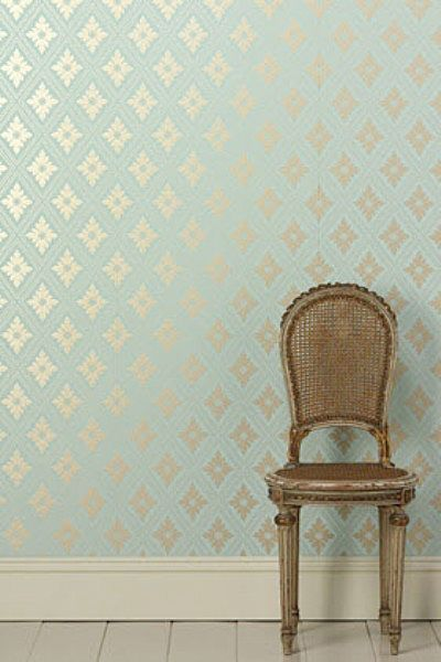 Farrow and Ball Wallpaper: Dining Rooms, Gold Wallpapers, Farrow Ball, Ball Wallpapers, Color, Wall Paper, Chairs, Powder Rooms, Accent Wall