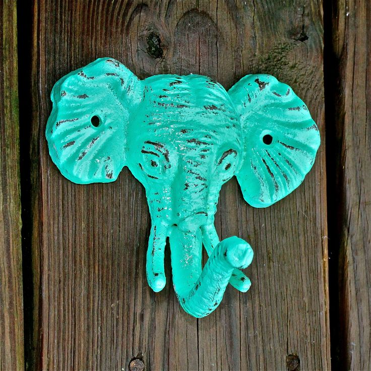 Small Elephant Decor: Elephant Wall Hook / Aquamarine /Shabby Chic Decor