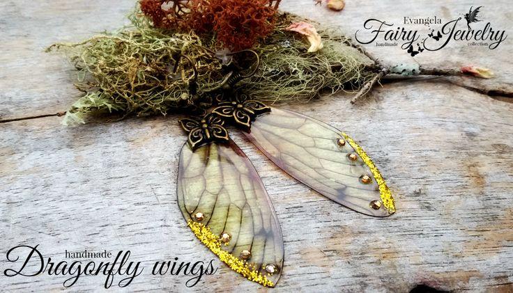 Orecchini Ali di libellula bronzo farfalla dorato, by Evangela Fairy Jewelry, 14,00 € su misshobby.com