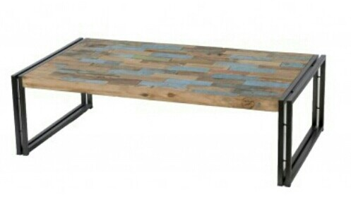 Metal and wood coffee table, made from wood recycled from fishing boats