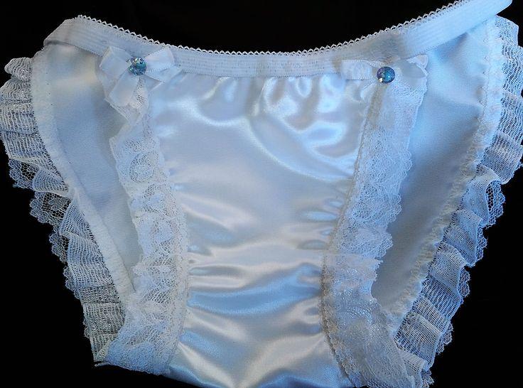String Panties White Bridal Satin And Lace Heart Ruffles