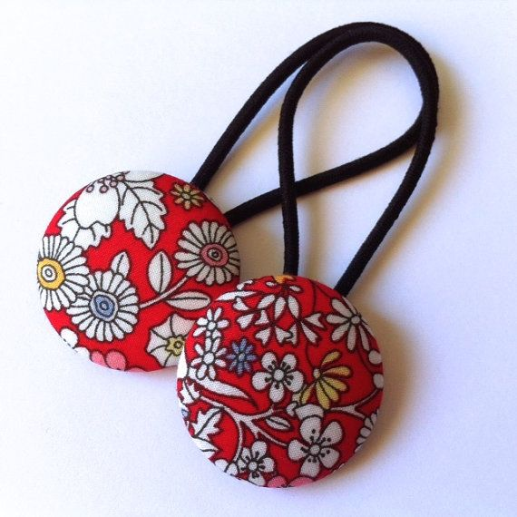 Liberty of London hair elastic set fabric covered buttons