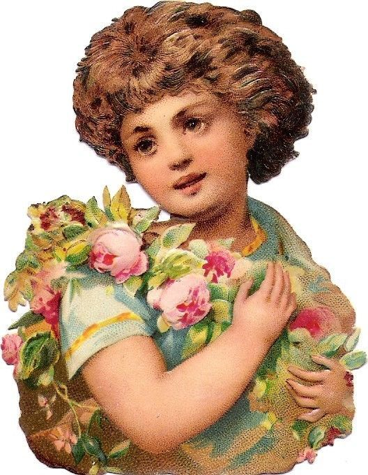 Oblaten Glanzbild scrap die cut chromo Kind child 8,8cm enfant buste wreath rose