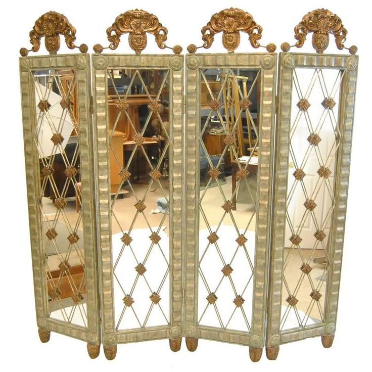 Silver And Copper Four Part Room Divider Screen By John Richard 1