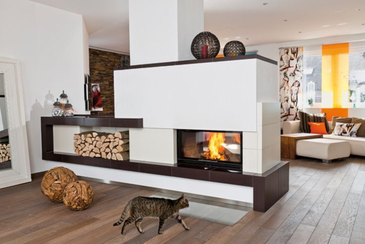 Moderner Kachelofen Kachel Fen Pinterest Open Plan Double Sided Fireplace And Fireplace
