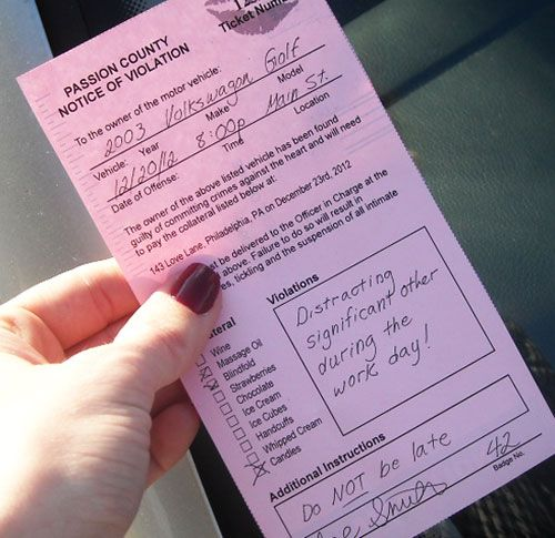 Parking ticket that leads to a night of romance. Nice to include in a goodie bag for the ladies to take home. Print one of for each lady and include a link to the website to print more.