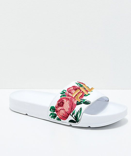 ea36608c5fea FILA Womens Drifter Rose Embroidered White Slide Sandals in 2019 ...