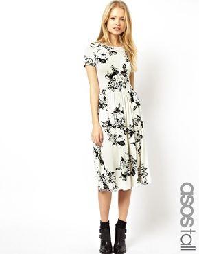 Image 1 ofASOS TALL Midi Skater Dress In Mono Floral