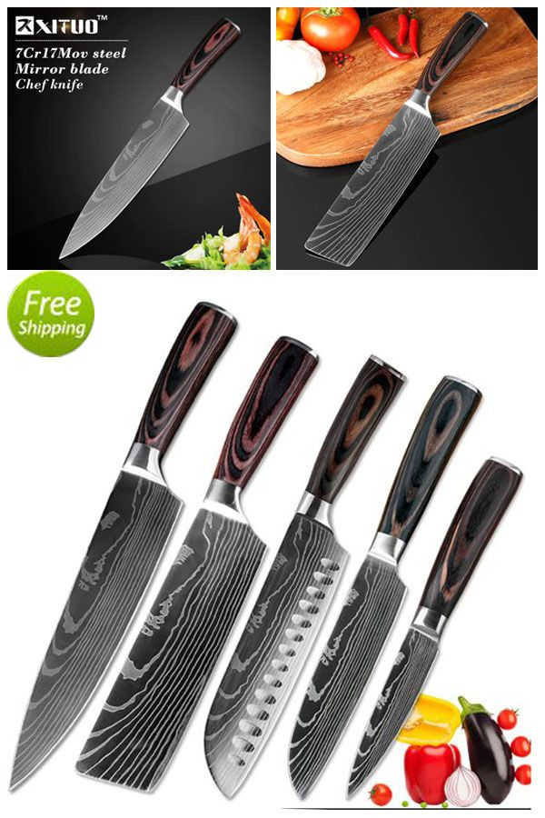 Chef Kitchen Santoku Knives Set Stainless Steel Damascus Laser Pattern Pakawood Chef Knife Kitchen Knives Japanese Cooking Knives