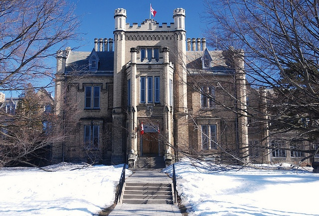 """Trafalgar Castle School in Whitby, Ontario is a private day and residential school for girls and young women in grades 5 through 12, but available for boarding since grade 7 . It was founded in 1874 as """"Ontario Ladies' College"""", making it one of the oldest independent schools in Canada. The castle was built by Nelson Gilbert Reynolds, Sheriff of Ontario County, as a private residence in 1859. Reynolds was named after Lord Nelson and named his castle Trafalgar."""