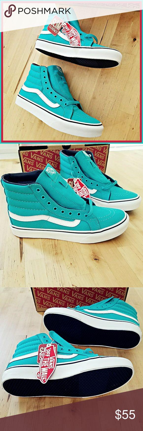 Teal Vans Sk8-Hi Slim Ceramic/Parisian Night Vans Sk8-Hi Slims.  Brand new with box. Men's 6.5 Women's 8 Vans Shoes Sneakers