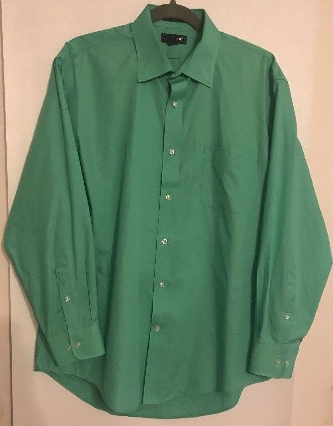 Lands End Long Sleeve Size 16 ½ - 33 Dark Mint Green Shirt Cotton Wrinkle Free #LandsEnd