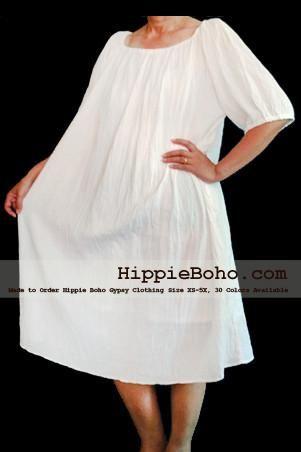 No.007 - XS-5X Hippie Boho Bohemian Gypsy White Peasant Tunic Plus Size Maternity Dress Lightweight Cotton