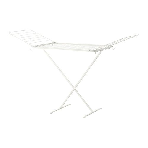 IKEA - MULIG, Drying rack, in/outdoor, white,  , , Suitable for both indoor and outdoor use.Two fold-out wings give room for more laundry.Simple to fold up when not in use.
