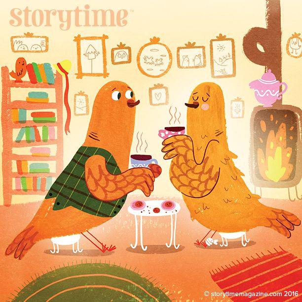 Meet Soft Feather and Fleet Wing - two turtle doves from our Storytime Christmas Issue 27! Art by Barbara Bakos (http://www.thebrightagency.com/artists/view/362) ~ STORYTIMEMAGAZINE.COM