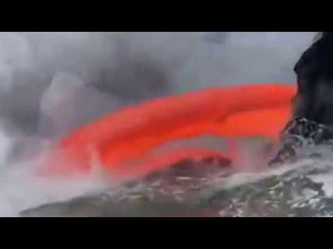 What happens when a volcano meets a river
