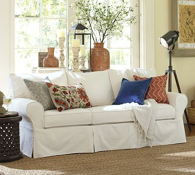 Seems good for family sofa- PB Basic Sofa #potterybarn