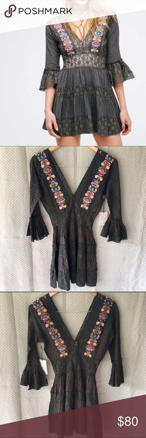 Free People antiquity lace mini dress Beautiful lace dress with floral embroidery by FP One Free People. Color is black but it's a faint greenish-black. See photo for more details on the dress!  New with tags. Free People Dresses Mini