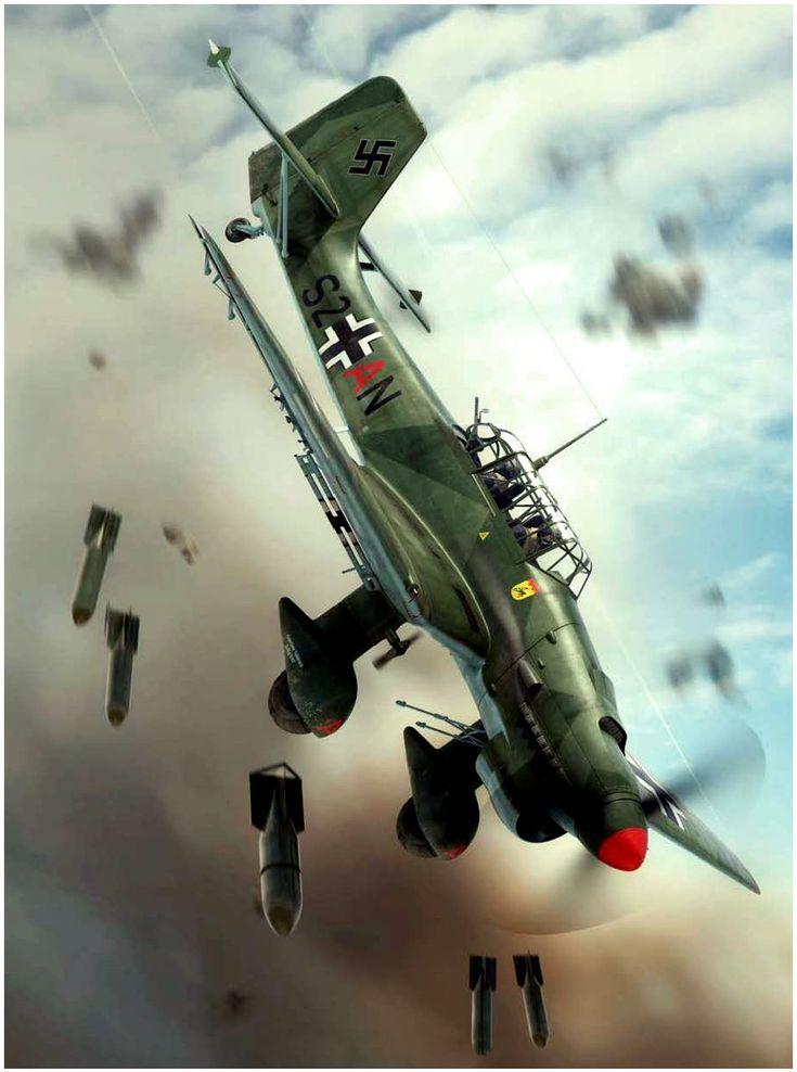 Junkers Ju-87B Stuka arrojando su carga de bombas durante los inicios de la Blitzkrieg en Polonia