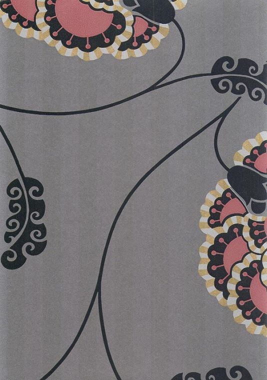 Flamenco Wallpaper Floral design wallpaper in pink and black on iron grey background