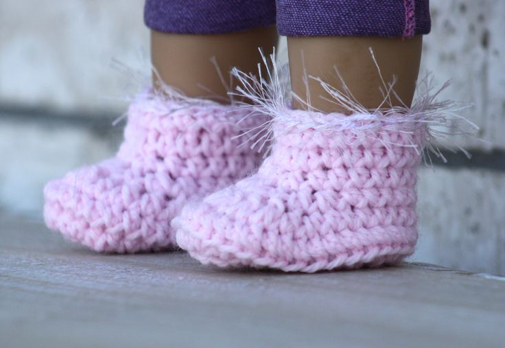 Crochet American Girl Doll sized booties with fur!