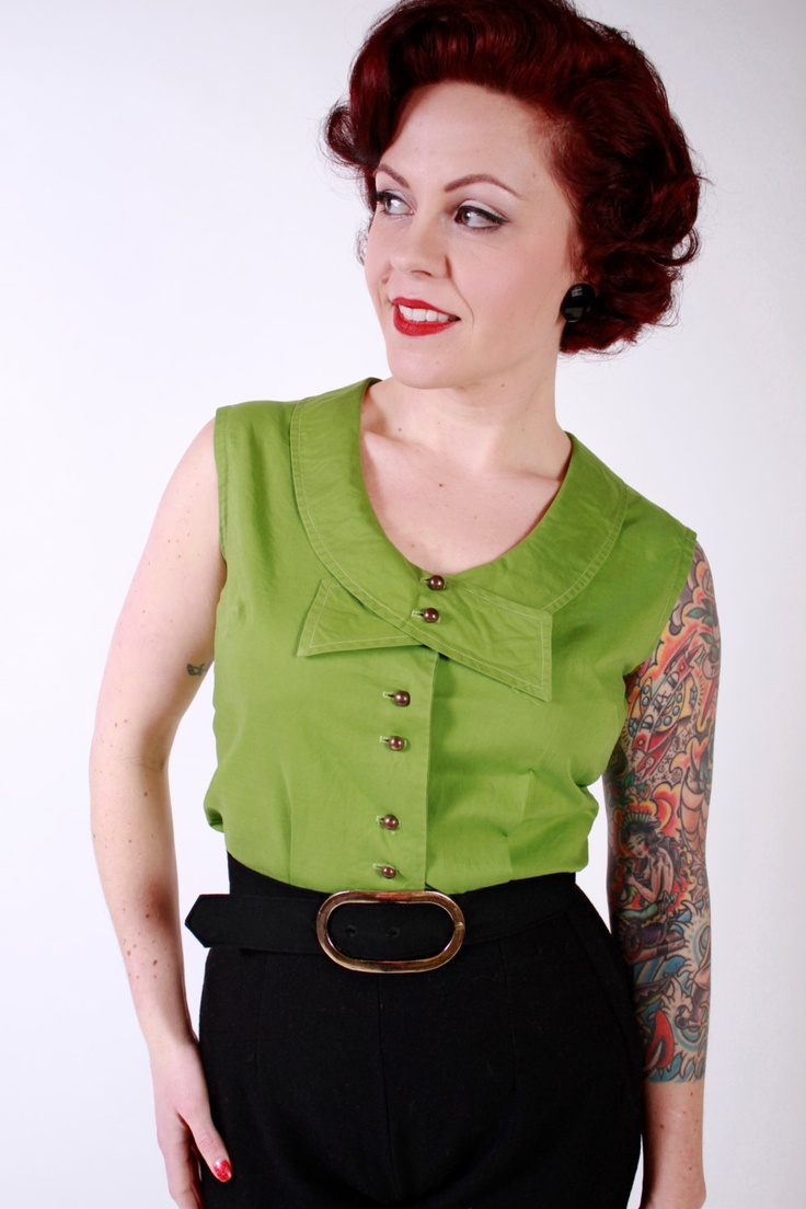1950s Vintage Shirt...Spring Fashion Moss Green Cotton 50s Sleeveless Fitted Shirt Blouse