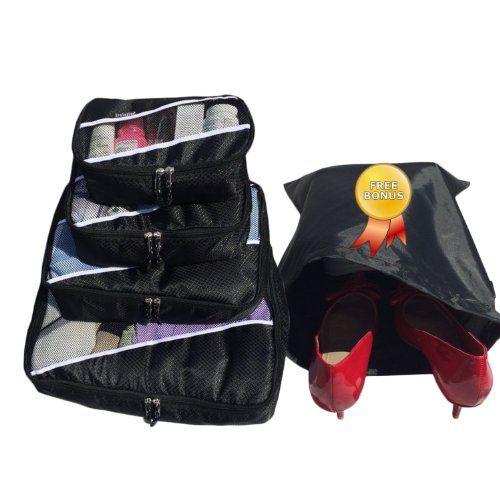 Travel Packing Cubes- Packing Cubes   4pc Eva-Black Set With Free ♥ Shoe bags   laundry hamper   laundry bag ♥   Multi-Purpose Use, Packing Cubes Large,  Packing Cubes   Packing Cubes for Travel  Packing Cubes Small, Cosmetic Bag   Cosmetic Bag Set   Toiletry Bag   Men Toiletry Bag   Toiletry Bag For Men   Toiletry Bag For Women   Toiletry Bag For Kids   Makeup Bag   Travel Bag   Luggage   ...