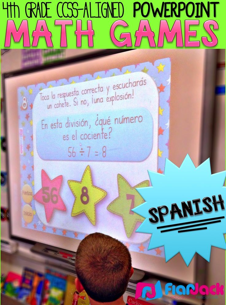 4th Grade SPANISH Math PowerPoint Games MEGA Bundle - This bundle contains 8 CCSS-aligned PowerPoint games in SPANISH that I have created for 4th grade at a discount. These hands-on games will motivate your students to practice math skills all year long! $
