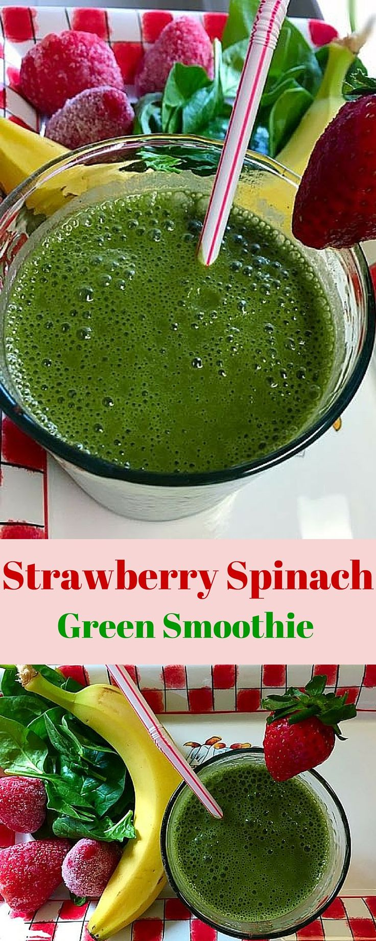 This smoothie is packed with vitamin C, folate and carotene which boost the immune system, protect against cancer and help maintain artery health.  Its vitamin K helps to boost bone strength and density. The fiber in spinach and strawberries aids the digestive system and minimizes constipation. bluelightwave.com