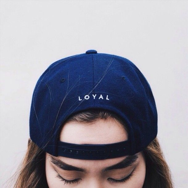 Hat: loyal snapback tumblr grunge kawaii trendy cute cap blue navy quote on it eyebrows