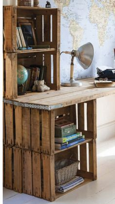 Best 25 Crate Desk Ideas On Pinterest Crates Wooden