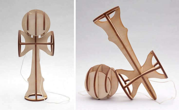 Flatpack laser cut kendama, a traditional Japanese toy similar to cup-and-ball.