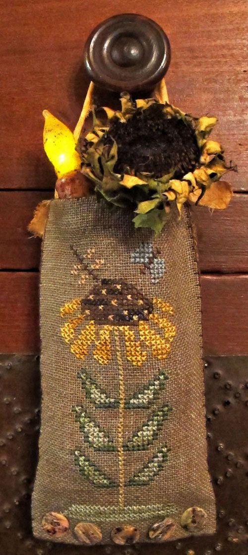 Sunflower Fair Hanging PouchCross Stitch by HomespunElegance, $6.50