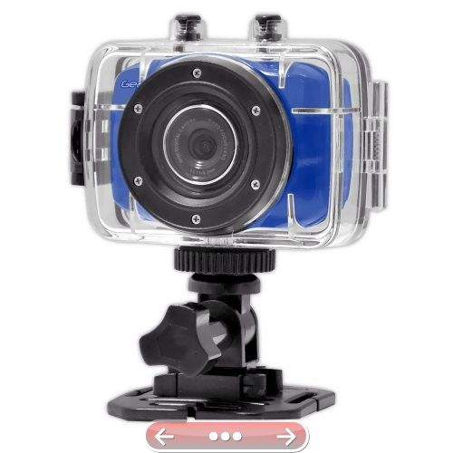Gear-Pro High-Definition Sport Action Camera720p Wide-Angle Camcorder With 2.0 Touch Screen  SD Card Slot USB Plug And Mic  All Mounting Gear Included  For Biking Riding Racing Skiing And Water Sports Etc.  BLUE