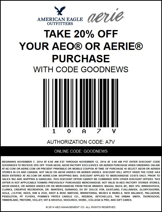 American eagle coupons 25 off