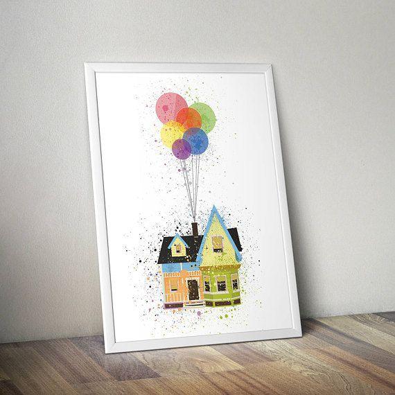 Disney Pixar Up Poster Print - Floating House | Watercolour | Nursery Art | Minimalist | Disney Art | Disney Print | Baby Gift