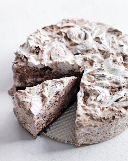 Extravagant Chocolate Ice Cream Cake with Hazelnuts and Marshmallow Swirl