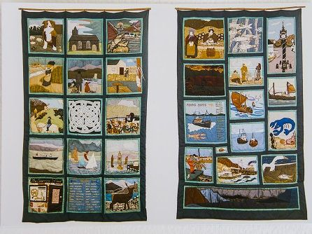 Two parallel quilts totalling 30 panels created by the people of Lochbroom as part of the Ullapool Bi-Centenary celebrations in 1988
