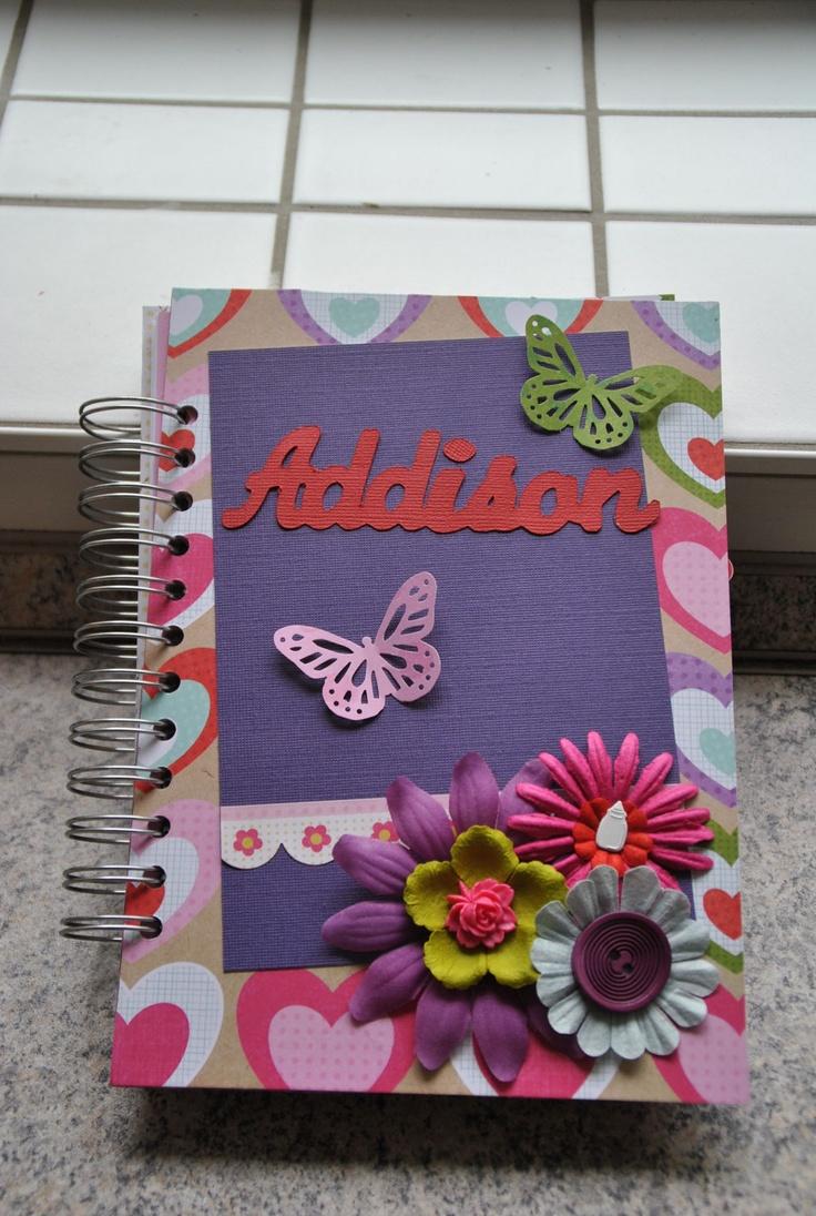 Scrapbook ideas baby milestones - Baby Milestone Journal Scrapbook Custom Theme Title Name 60 00