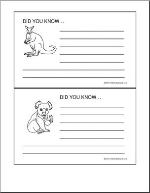 Did You Know? Australia - Two printable cards with graphics for writing facts about Australia.