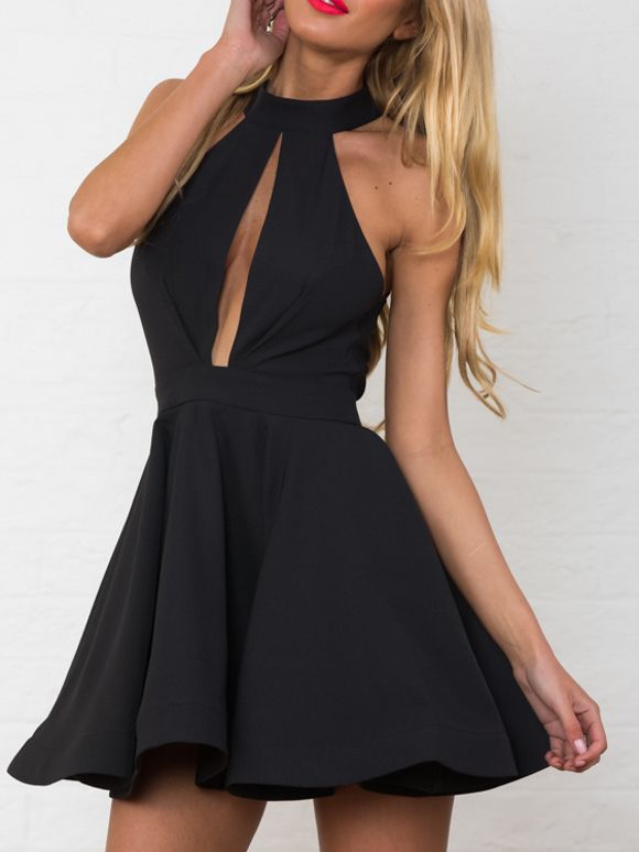 Black Entrapment Halter Cut Out Back Skater Dress