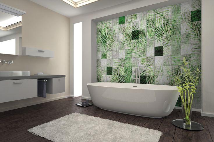 Carta Da Parati Con Mosaico Di Foglie Di Palma Verde Wallpaper