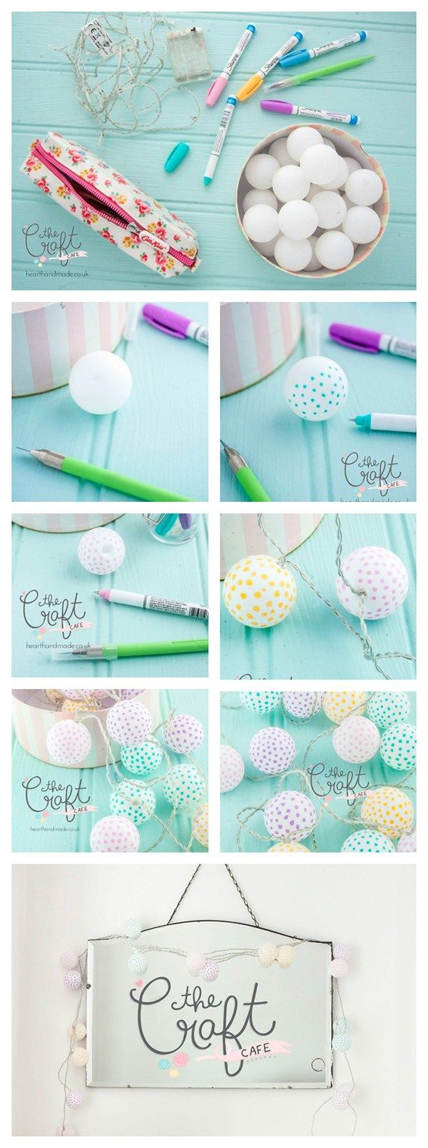 I LOVE this super simple DIY tutorial that shows you how to make polka dot party lights out of ping pong balls and Sharpie pastel paint pens. It's a great project if you love to add a little whimsy to your home decor projects. I always search on Pinterest for the best DIY decor ideas and I love garland style fairy lights. I'm tempted to make some more to decorate a room for a pretty pastel party!